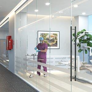 3D dentist clinic interior doctor
