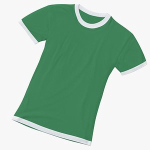 3D model Female Crew Neck Laying White and Green 01