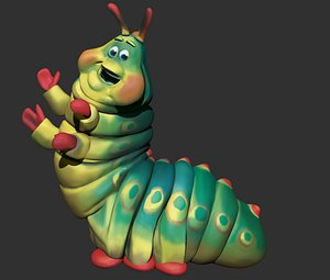 animation bugs caterpillar 3D model