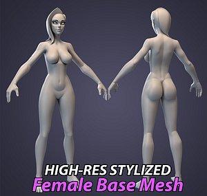 3D model stylized female basemesh