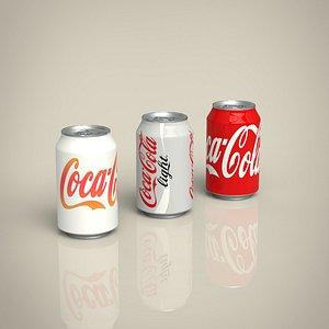 Coca cola can set 3D model