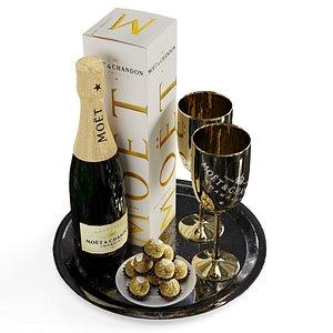 champagne tray set 2 3D model
