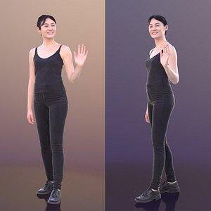 woman waving 3D model