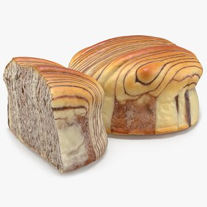 3D Marbled Chocolate Buns model