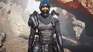 3D Police Captain sci-fi cyberpunk 3D character rigged model 3D model model