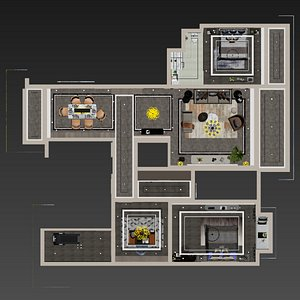 3D interior apartment 2 room set model