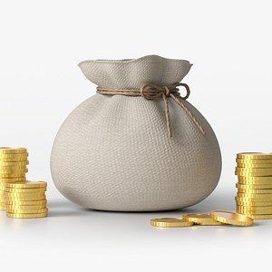 3D money coin sack