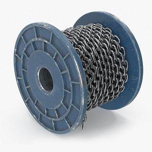 3D Blue Painted Metal Bobbin Steel Chain model