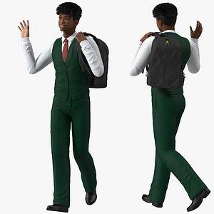 3D Black Teenager Light Skin School Uniform Rigged for Modo