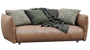 Meridiani Leather Sofa SCOTT 3D model