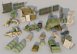 Military base troops military readiness materials field tents sandbags war scene construction 3D model