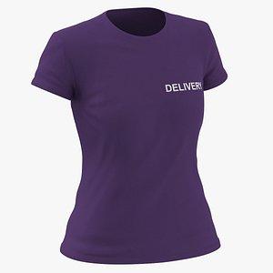 3D Female Crew Neck Worn Purple Delivery 03 model