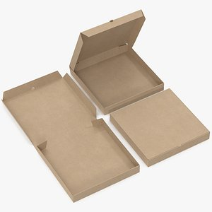 3D pizza boxes kraft paper model