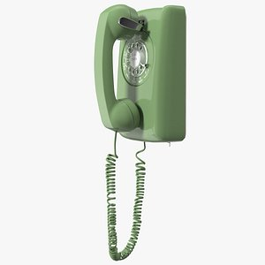3D Vintage Green Rotary Wall Phone