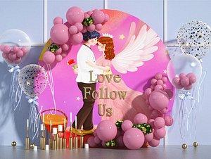 3D Valentine Day balloons model