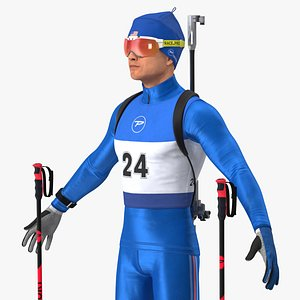 3D Biathlete Fully Equipped USA Team Rigged for Modo