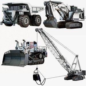 3D model Heavy Mining Liebherr Vehicles Package x4 Items