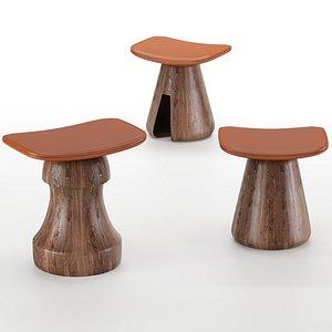 3D model tabouret mat chair