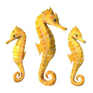 Fully rigged low poly seahorse 3D model