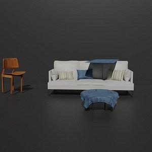 3D Sofa com almofadas e uma cadeira e com mesa de centro