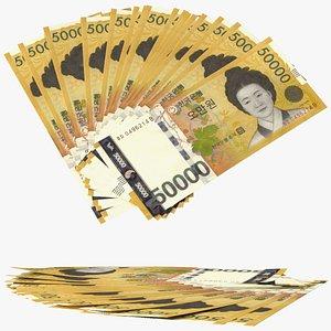 Fan of South Korean 50000 Won Banknotes 3D model