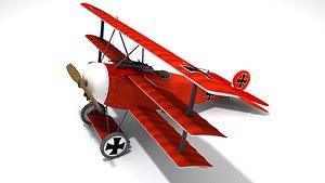 3D Fokker DR1 triplane fighter