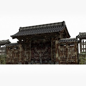 3D The gate of an ancient Asian manor model