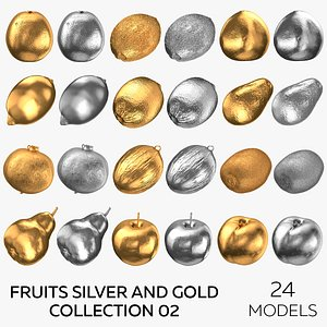 Fruits Silver and Gold Collection 02 - 24 models 3D model