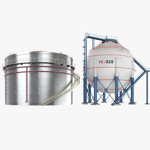 Two Oil Tanks Collection 3D model