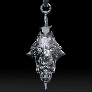 Wolf head with human skull pendant 3D model model