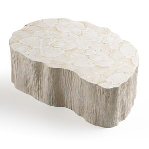 Palecek Camilla Fossilized Clam Coffee Table 3D