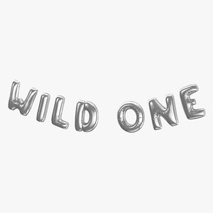 Foil Baloon Words Wild One Silver 3D
