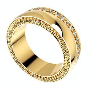 3D model ring set women men