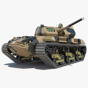 3D Robotic Electric Tank Camo Rigged model