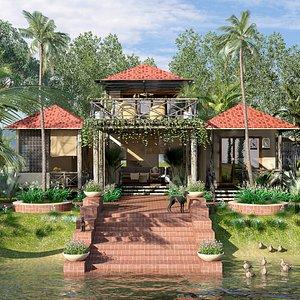3D model Resort rest house