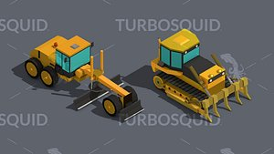 Low Poly Heavy Construction Machinery Equipment Industrial Low-poly 3D model model