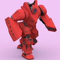 ROBOT RED FIGHTER IK RIGGED LOWPOLY
