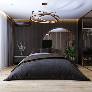 bedroom with wardrobe 3D model