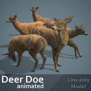 3D Deer Doe animated PBR Low-poly 3D model