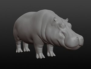 Hippopotamus base mesh 3D