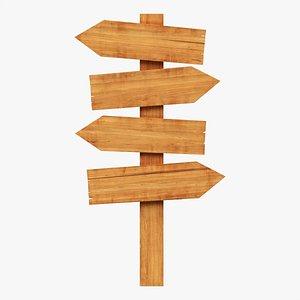3D Wooden signboards 02 model