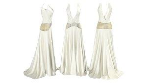 30s Wedding Style Dress 3D model