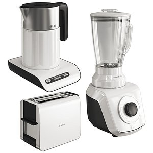 set small white kitchen appliances 3D
