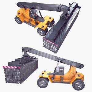 3D Reach Stacker and Container