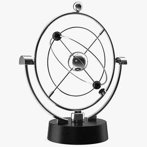 3D Orbital Newton Pendulum Model Rigged model