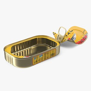 Open Pull Ring Sardine Can 3D model