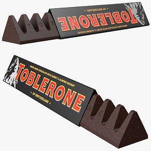 3D Opened Toblerone Dark Chocolate Bar