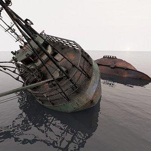 Fishing Trawler wreck 3D model