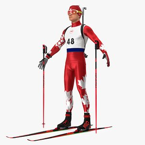 Biathlonist Fully Equipped Canada Team Neutral Pose 3D