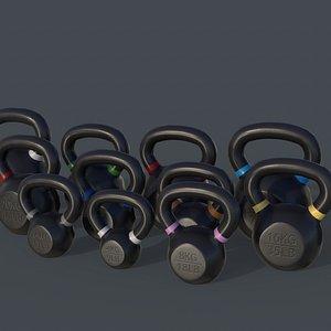 3D PBR 4-40KG Kettlebell - V2